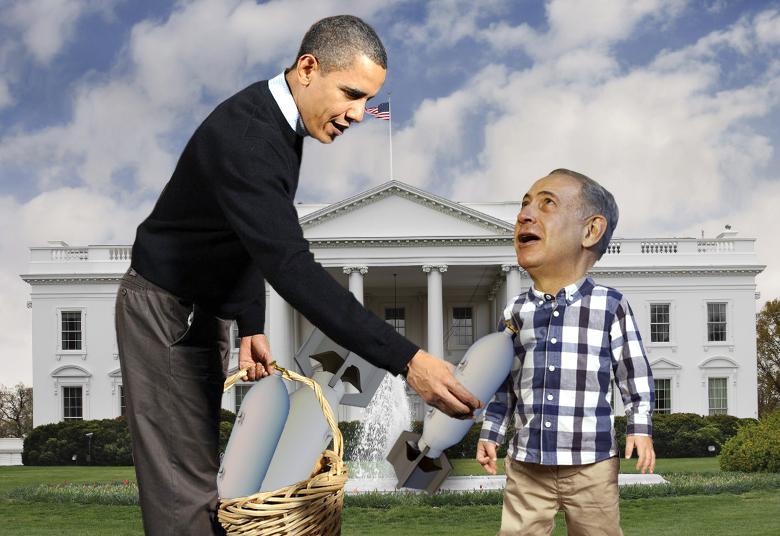 صورة أوباما يُلهي نتنياهو عن بناء المستوطنات بإعطائه أسلحة بقيمة ٣٨ مليار دولار